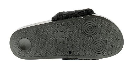 Wynsors New Ladies/Womens Black Faux Fur Slip ONS Sliders - Black - UK Sizes 3-8 RzKLagwsJi