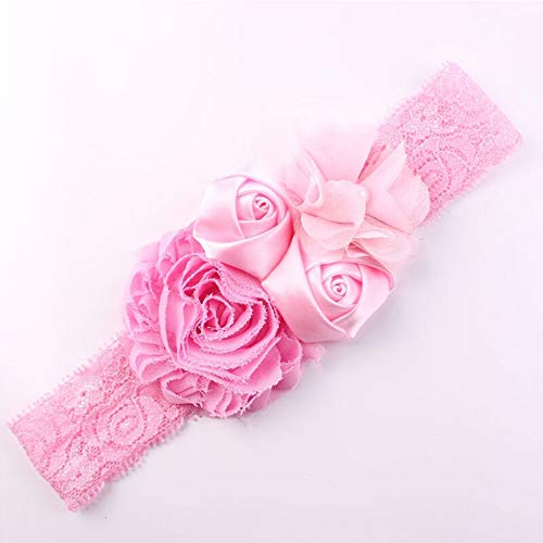 (Chic Lace Baby Headband Chic Lace Mix 4 Flower Princess Girls Headband Hair Bow (Color - Pink))