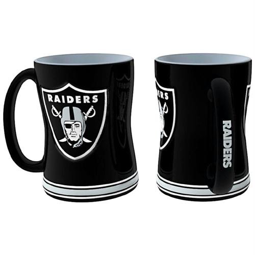 Oakland Raiders NFL Coffee Mug - 15oz Sculpted Nfl Ceramic Travel Coffee Mug