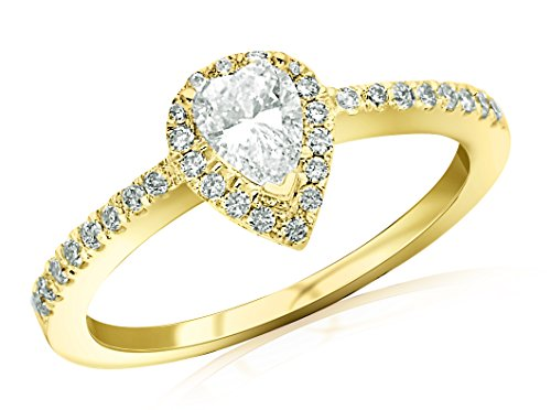 Near 1/2 Carat Halo Style Diamond Engagement Ring Pear Cut Shape (F-G Color SI1-SI2 Clarity)