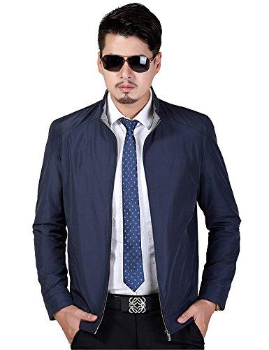 IDEALSANXUN Men's Classic Lightweight Zip up Business Windbreaker Bomber Jacket (Navy Blue, Large) by IDEALSANXUN