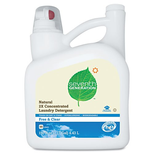Seventh Generation Free And Clear Natural 2X Concentrate Laundry Liquid, Unscented, 150 oz. Bottle - Includes four bottles.