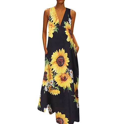 Sunhusing Summer New Ladies Sunflower Print Deep V-Neck Sleeveless Pocket Loose Ankle Length Dress Black