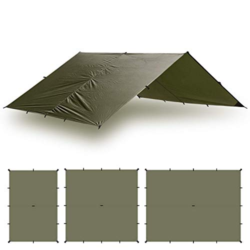 Aqua Quest Guide Tarp - 100% Waterproof Ultralight Ripstop SIL-Nylon Backpacking Rain Fly - 13x10 Olive Drab