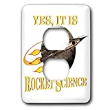 3dRose MacDonald Creative Studios – Geek - A fun geeky nerdy message, Yes It Is Rocket Science in retro sci-fi. - Light Switch Covers - 2 plug outlet cover (lsp_291901_6)