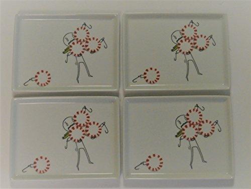 CB2 Oliver Struggling Juggling Peppermints Porcelain Hors d'oeuvres Appetizer Snack Plates - Set of 4 - Retired