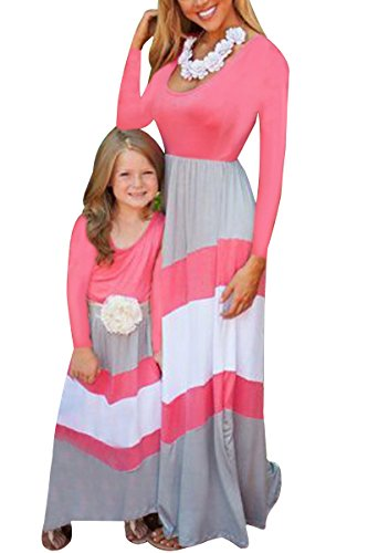 Sleeve Striped BYM Tank Long Sleeveless Summer Mommy Outfits Pink Casual Daughter Long gray Print Maxi Dress qSOXSwxg