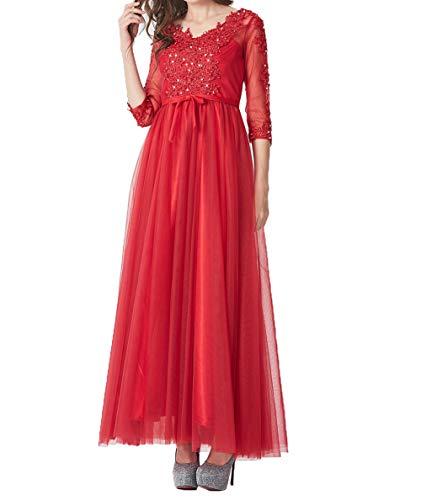 Partykleider Lang A Langarm Brautmutterkleider Charmant Abendkleider Damen Linie 4 Ballkleider Rot 3 Tuell zwqgYvw