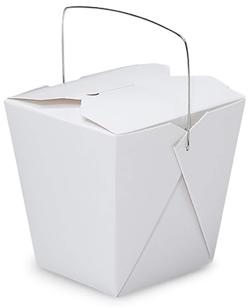 Made in USA 50-Count White 26 oz Chinese Take Out Boxes with Handles, Leak and Grease Resistant, Pre-Assembled (4.1