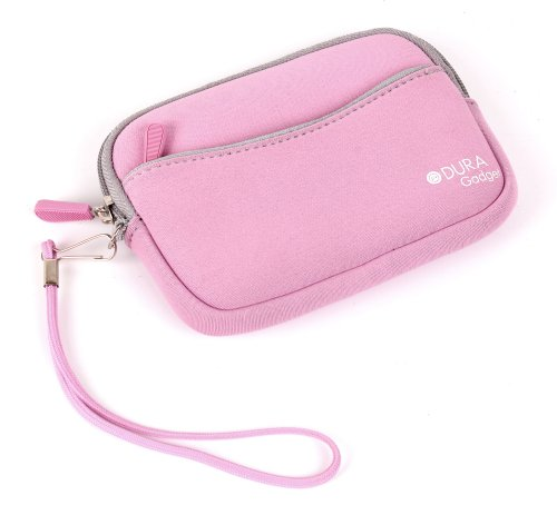 DURAGADGET Premium Quality Pink Neoprene Compact Camera Case - Compatible with The Sony Cyber-Shot DSC-HX80 Compact Camera - with Handy Wrist Strap & Additional Storage ()