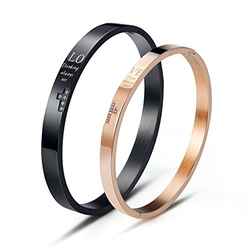 Wolentty His and Hers Matching Couples Bracelets Stainless Steel Love Couple Bracelet for Men Women Valentines by Wolentty