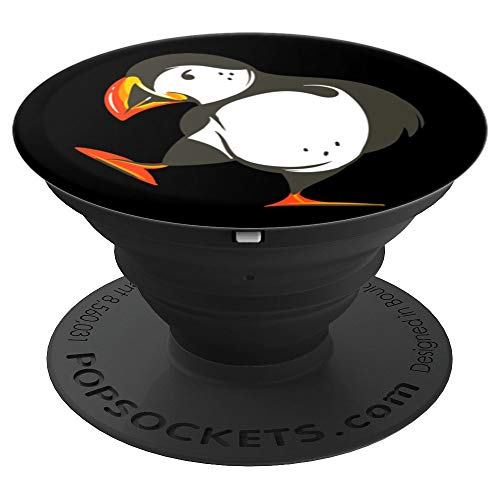 Puffins Penguin Arctic Birds Cold Weather Black - PopSockets Grip and Stand for Phones and Tablets