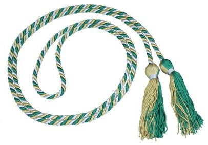 Three-Color Braided Honor Graduation Cords (Silver/Green/Antique Gold-Green/Antique Gold Tassel w/Silver tie)