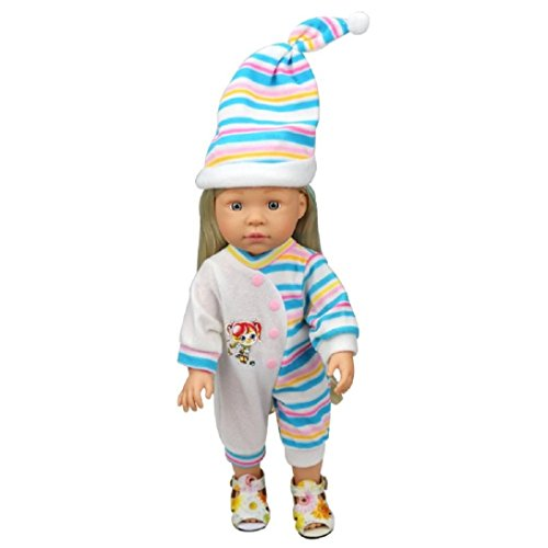 Witspace Stripes Rompers Jumpsuit Pajames Outfits With Hat For 18 Inch American Girl Doll (Blue)