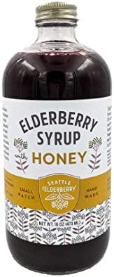 Elderberry Syrup with Honey Small-Batch Made with Organic Ingredients Gluten-Free for Kids Adults, Immunity Boost, 16oz