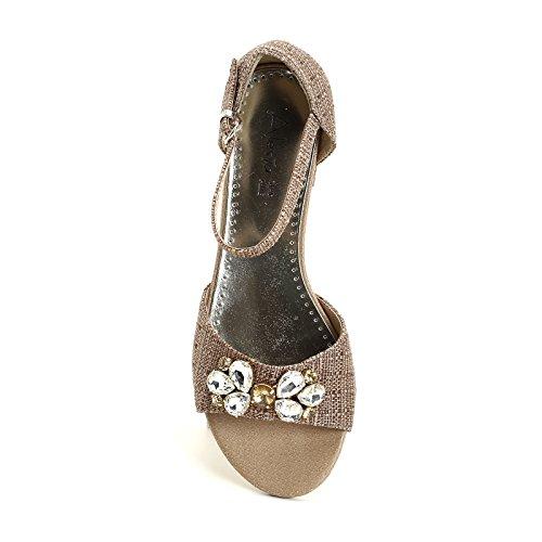 ALESYA by Scarpe&Scarpe - Sandalias bajas con piedras, con Tacones 3 cm Beige