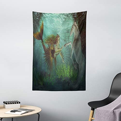 Ambesonne Mermaid Tapestry, Mermaid Meets Seahorse Underwater World Fantasy Fairytale Design, Wall Hanging for Bedroom Living Room Dorm Decor, 40 X 60 , Green Aqua