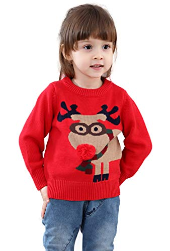 Unisex Kid's Rudolph Reindeer 3D Nose Ugly Christmas Sweater Jumper (2Y, Red) -