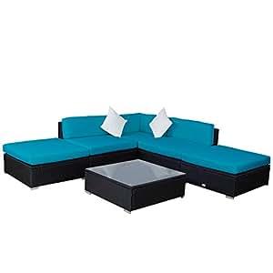 kinbor 6pcs casa patio muebles de jardín ratán mimbre sofá al aire libre Acolchado muebles seccional