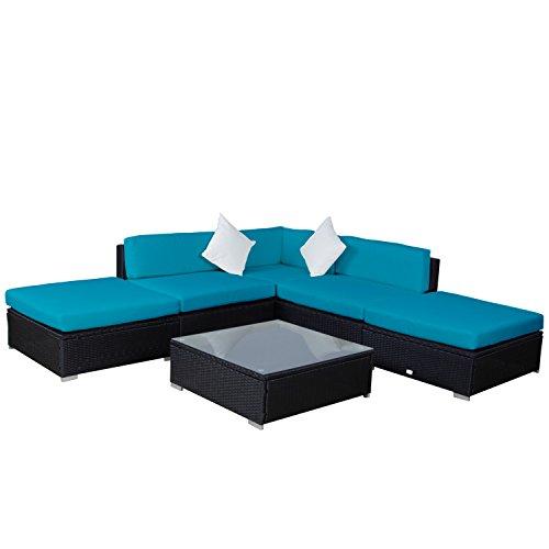 Kinbor 6PCs Home Garden Patio Furniture PE Rattan Wicker Sofa Outdoor Cushioned Sectional Furniture price
