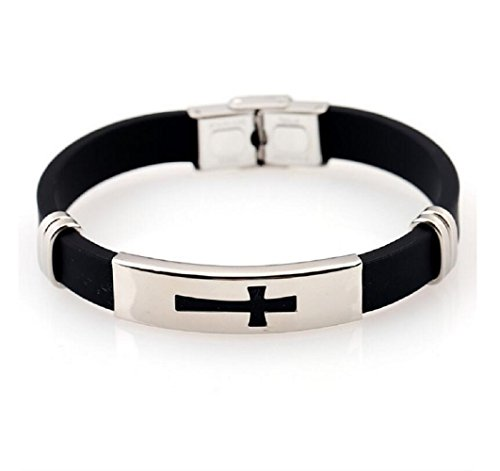 Fariishta Jewelry Fashion Black Silicone Cross Stainless Steel - Place Directions Tower Water