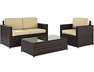 Crosley Palm Harbor 3piezas mimbre Patio sofá con cojines de arena