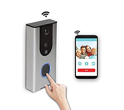 Wi-Fi Enabled Video Doorbell Wireless Door Bell Waterproof Rechargeable 16G Smart Video Doorbell Camera PIR Motion Sensor,Night Vision,Tamper Alarm,Two Way Talking for iPhone and Android