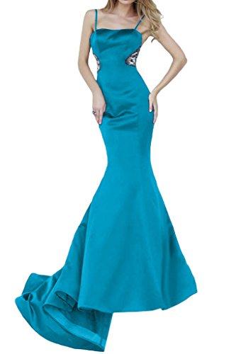 Lang Blau Damen Ivydressing Mermaid Festkleider Spaghetti Abendkleid Promkleid Satin 8OtOqwBx7p