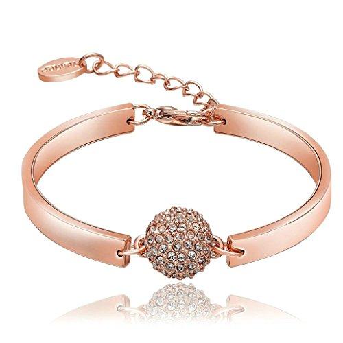 18K Rosegold Vergoldet Damen Charme Armbänder Zirkonia Runde Form Länge 12CM+5CM - Adisaer Schmuck