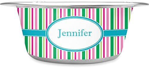RNK Shops Grosgrain Stripe Stainless Steel Pet Bowl - Small (Personalized)