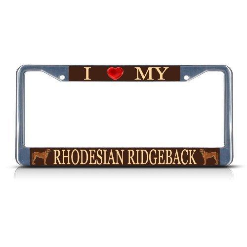 License Plate Covers LOVE RHODESIAN RIDGEBACK DOG Heavy Duty Metal License Plate Frame Tag ()