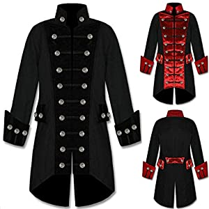 Hot Sale! Men's Winter Warm Tops Hooded Vintage Tailcoat Overcoat Outwear Steampunk Victorian Frock Coat