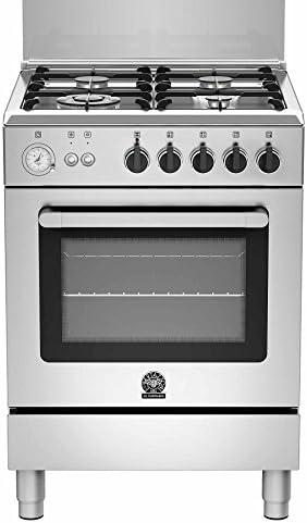 LaGermania RI64C71CX - Cocina de gas con horno de recirculación de gas, acero inoxidable, 60 cm, clase energética A