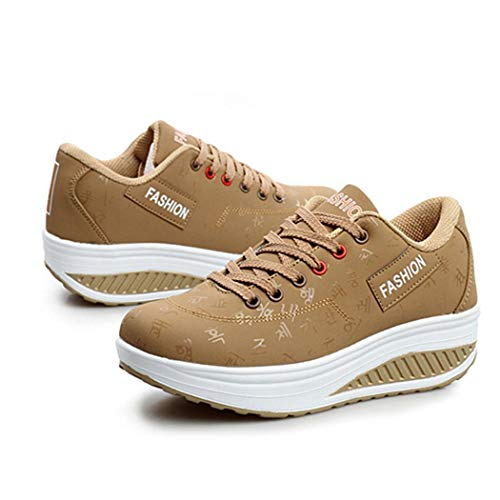 Zapatos Casuales Correr Plataforma Con Cordones Mujer Transpirable Zapatillas Caqui Moda Deporte Asfalto Seniu66 En ftvqEwCv