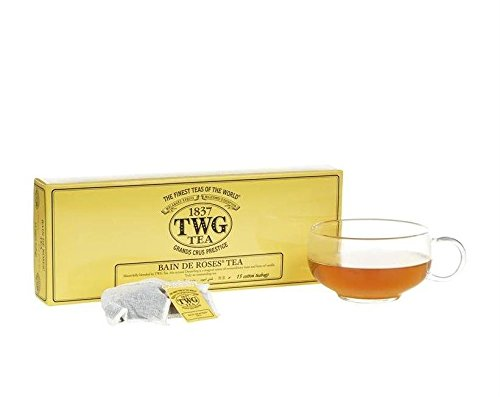 - TWG Singapore - Luxury Teas - BAIN DE ROSES TEA - 15 Hand sewn pure cotton tea bags