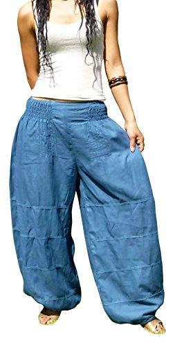Billy's Thai Shop Women's Salwar Pants Harem Pants Elastic Waist Yoga Aladdin One Size Fits Most. Blue (Billy Blues Wide Leg)