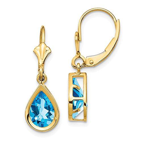14k Yellow Gold 9x6mm Pear Blue Topaz Leverback Earrings Lever Back Drop Dangle Gemstone Bezel Fine Jewelry Gifts For Women For Her