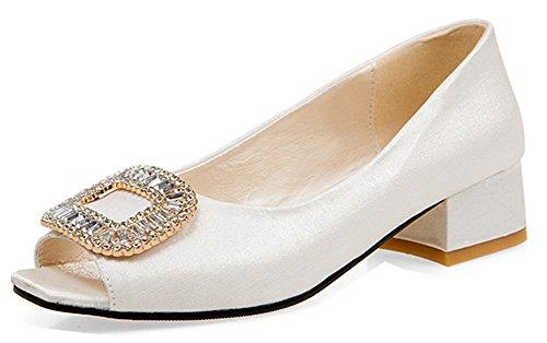 Peep Chic Toe des Femme Blanc Voyage Ornement Aisun Strass Sandales qCW574X4w