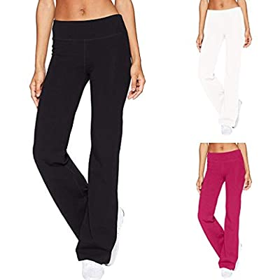 Yoga Pants for Women Loose Fit, Bootcut Yoga Pants High Waist Workout Bootleg Pants Tummy Control 4 Way Work Pants for Women at  Women's Clothing store