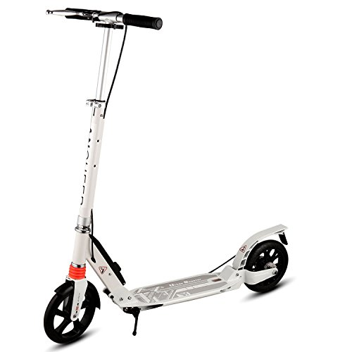 Cheap Ancheer A4 Adult Scooter Single Button Folding, Dual Suspension, Lightweight kick scooter with Hand Brake and Disc brake| 200mm big Wheels, Adjustable Height Handlebar, 220 lbs Weight Capacity