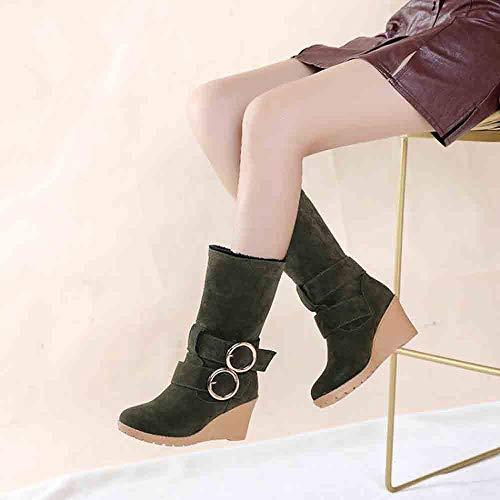 La Verde Donna Scivolare da Breve Su Lungo Heeled Stivali Inverno Donna Moda Alto Neve Cunei fw7E6qFx