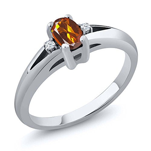 0.44 Ct Orange Red Oval Madeira Citrine and Topaz 925 Sterling Silver Ring (Ring Size (Madeira Citrine Gemstone)