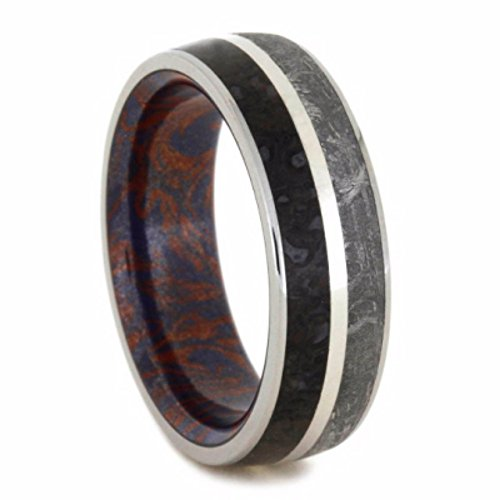 Gibeon Meteorite, Dinosaur Bone, Blue Bronze and Red Copper Mokume 7mm Comfort-Fit Titanium Wedding Band, Size 9.5 by The Men's Jewelry Store (Unisex Jewelry)