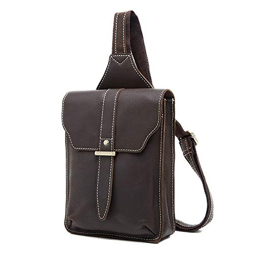 Genuine Suitable Bag Asdflina Briefcase Sports Use Shopping Chest For Male Leather Business color Coffee Large Capacity Coffee Casual Travel Crossbody Everyday rw66q1YBI