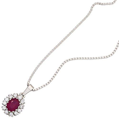 Pendentif en rubis rouge-oxyde de zirconium-blanc-tout autour & ovale en argent 925 pour femme