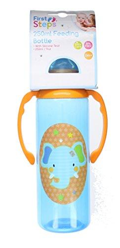 First Steps Jungle Pals Gripper Baby Feeding Bottle Silcone Teat BPA Free 250ml-Blue Elephant