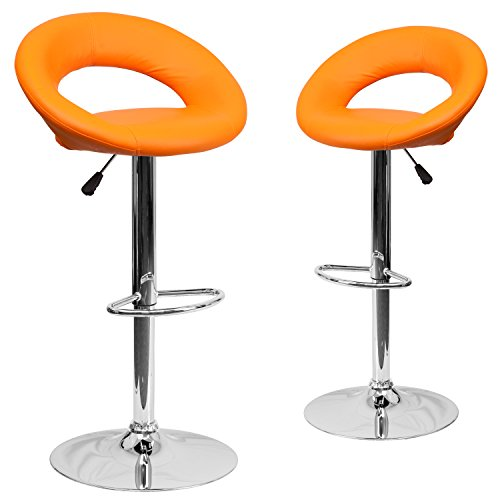 - Flash Furniture 2 Pk. Contemporary Orange Vinyl Rounded Back Adjustable Height Barstool with Chrome Base