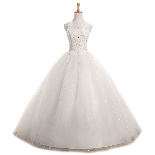 LMBRIDAL Women's Scoop Neck Ball Gown Wedding Dress Lace Bridal Gown White C 2