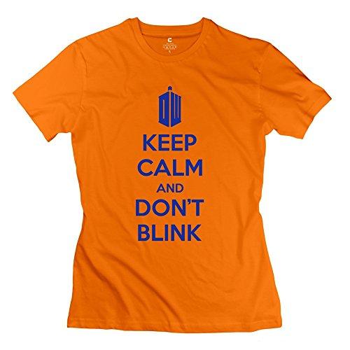 XY-TEE Women's T Shirt Geek Keep Calm Dont Blink Orange Size XXL