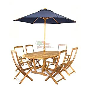 Turnbury Round/Oval Ext 180-120 Table + 6 Highback chairs Garden Furniture Set+ parasol